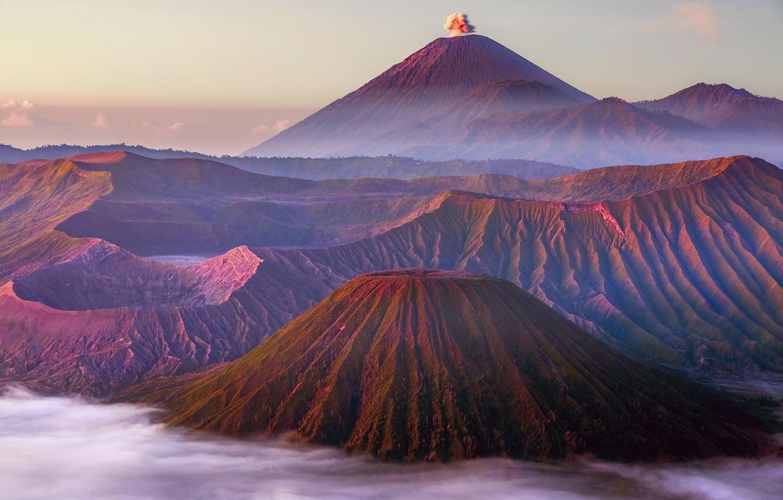 Фото обои Индонезия, вулканы, Бромо, Тенгер