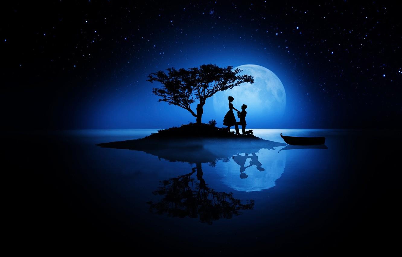 Фото обои любовь, ночь, луна, романтика, звёзды, пара, силуэты, день всех влюблённых