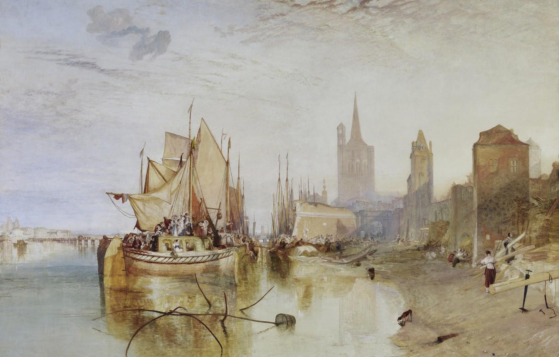 Фото обои город, люди, лодка, корабль, Вечер, картина, парус, морской пейзаж, Уильям Тёрнер, Кельн - Прибытие Пакетбота