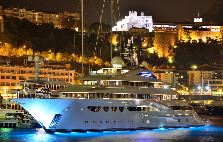 Фото обои ночь, city, город, замок, гора, дома, вечер, порт, вертолет, Monaco, дворец, night, Монако, Монте Карло, …