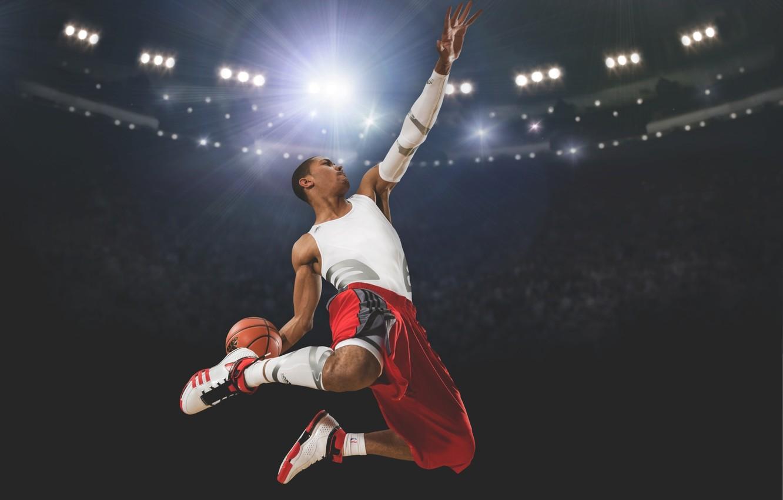 Фото обои Мяч, Свет, Баскетбол, Adidas, Стадион, Derrick Rose, Slam Dunk, Зависание, Игрок