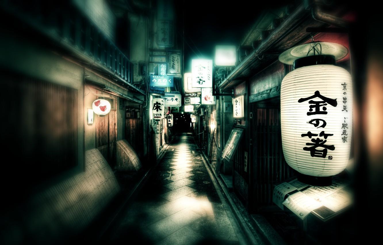 Фото обои улица, Япония, фонари