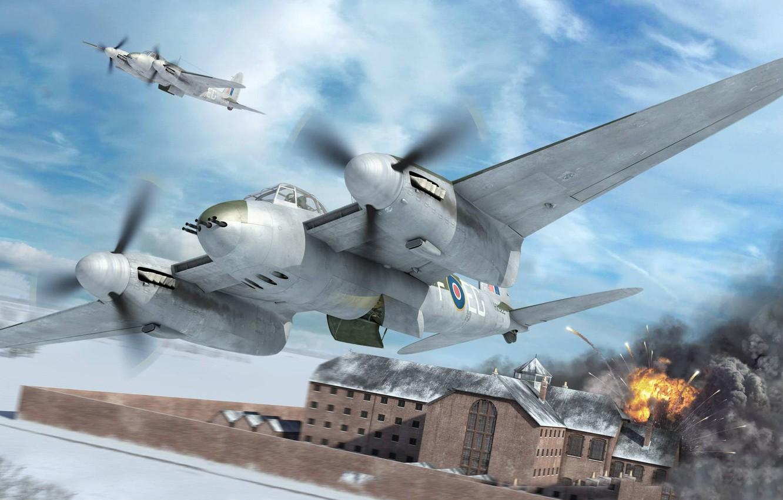 Обои De havilland mosquito, британский многоцелевой бомбардировщик. Авиация foto 6