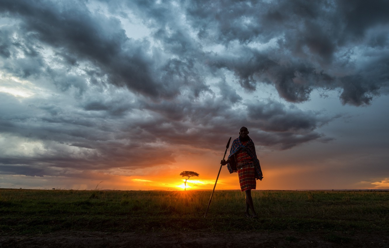 Фото обои небо, закат, Африка, Кения, Заповедник Масаи-Мара, челвек