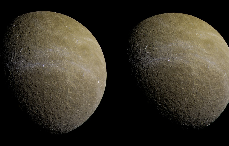 Фото обои спутник, второй, Rhea, Сатурна, по величине, Рея