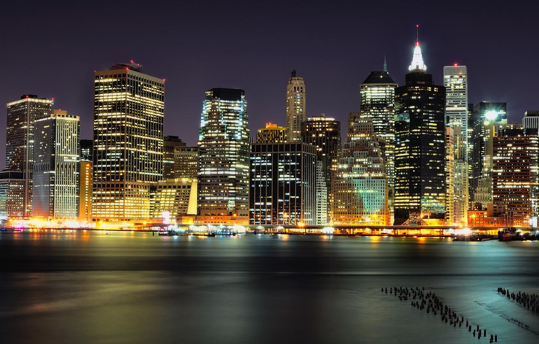 Фото обои ночь, огни, небоскребы, Brooklyn, Night, Manhattan, NYC, Lower, Columbia, Heights