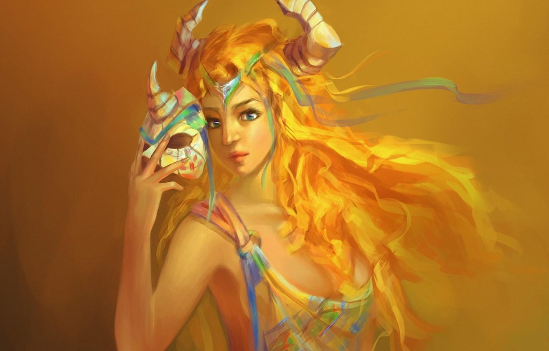 Фото обои девушка, маска, арт, рога, желтый фон