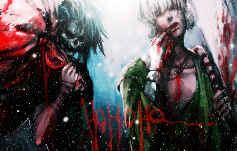 Фото обои снег, надпись, кровь, череп, новый год, рождество, аниме, арт, скелет, парень, мешок, санта, genki-de