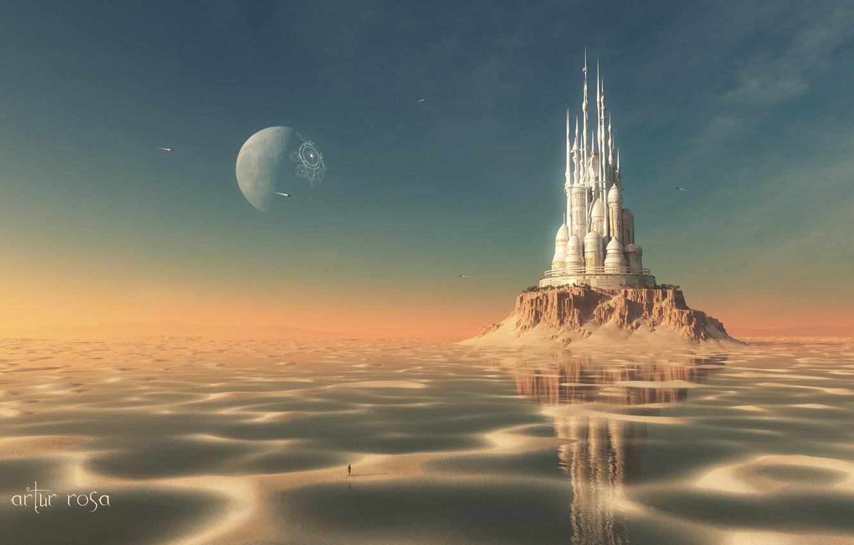 Фото обои песок, вода, замок, человек, остров, планета, корабли, мель, рендер