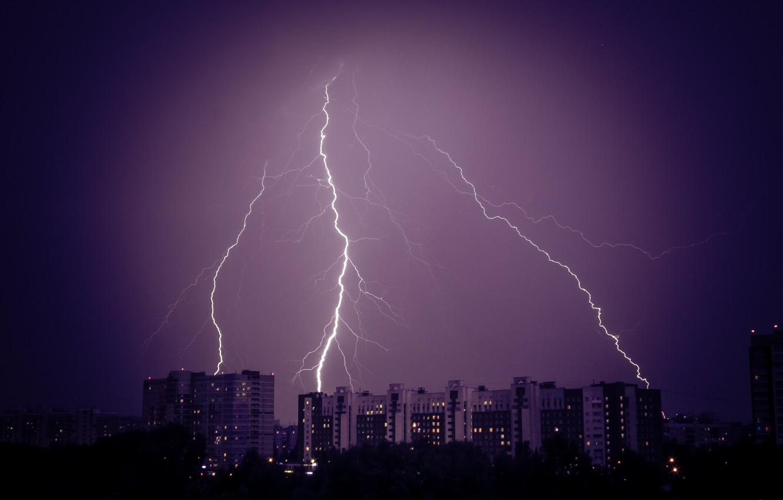 Обои гроза, молния, буря, тучи. Города foto 11