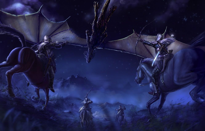 Фото обои горы, ночь, дракон, эльф, кони, звёзды, Властелин Колец, битва, night, wings, mountains, stars, horses, The …
