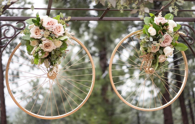 Фото обои кольца, свадьба, колёса, букеты