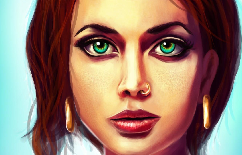 Фото обои лицо, волосы, серьги, веснушки, зеленые глаза, Роберт Джордан, Robert Jordan, Колесо Времени, The Wheel of …