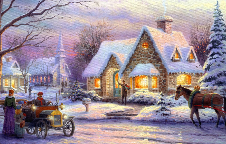 Фото обои зима, машина, ретро, люди, конь, лошадь, елки, номер, Рождество, ёлка, городок, ящик, живопись, Christmas, art, …