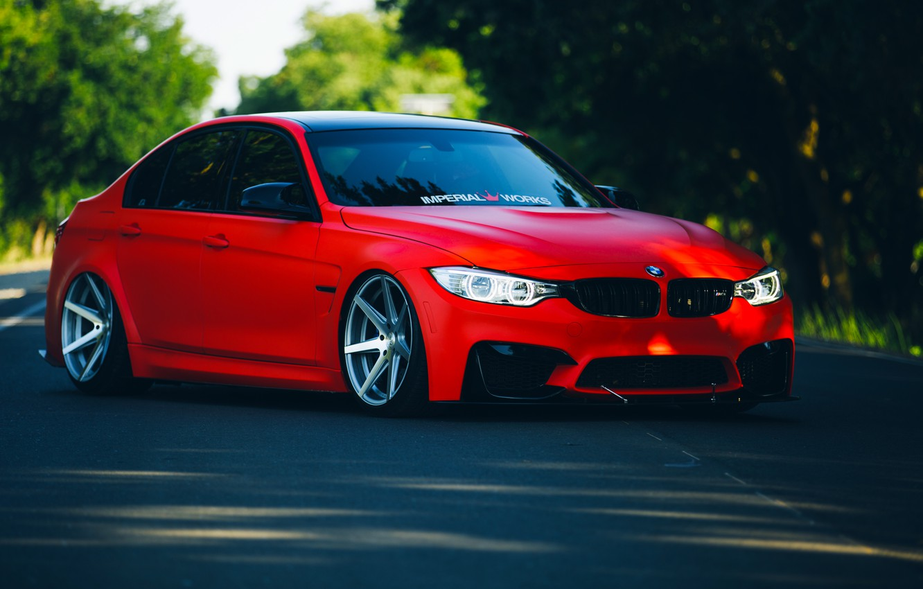 Фото обои BMW, Red, Car, Front, Vossen, Wheels, F80, Stancenation