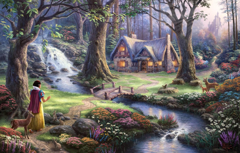 Фото обои деревья, цветы, мост, замок, водопад, сказка, вечер, арт, домик, fantasy, sunshine, речка, олени, принцесса, bridge, …