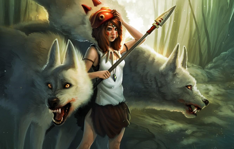 Фото обои лес, девушка, маска, арт, кулон, волки, копье, Princess Mononoke, Принцесса Мононоке, Kelly Perry