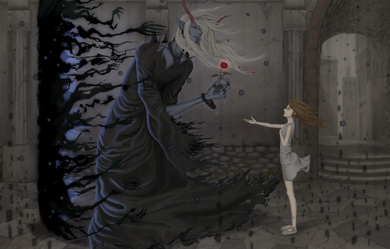 Фото обои цветок, девушка, ветер, рога, Демон