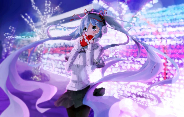 Фото обои зима, девушка, аниме, наушники, арт, vocaloid, hatsune miku, сердечко, kuroi