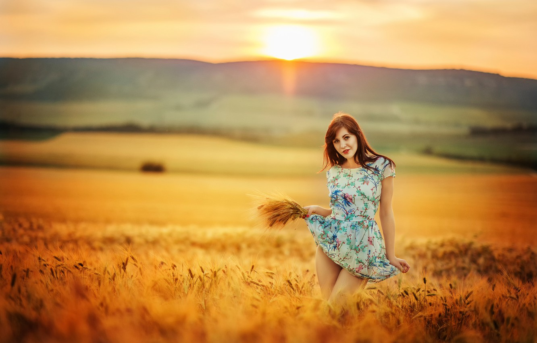 Фото обои поле, девушка, солнце, платье, ножки