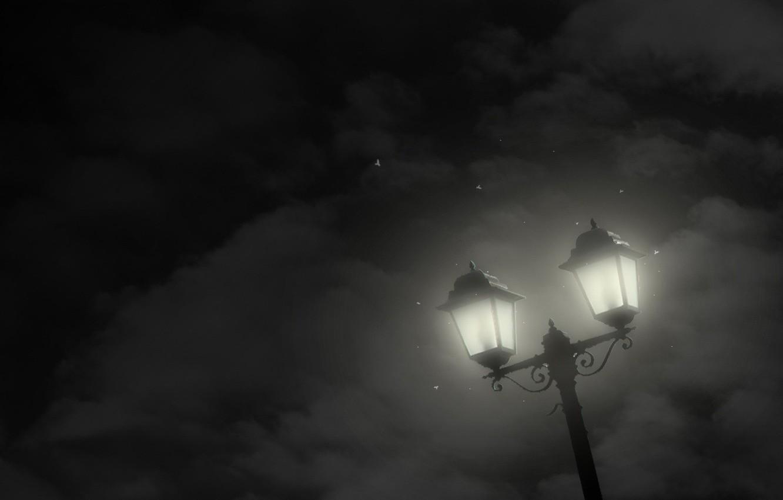 Фото обои звезды, облака, ночь, минимализм, Фонарь