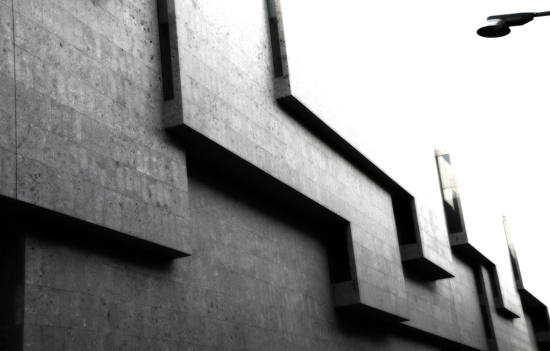 Фото обои серый, кубы, углы, здание