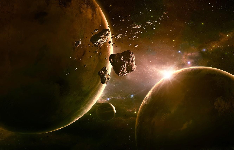 Фото обои космос, планеты, астероиды, арт, space, qauz
