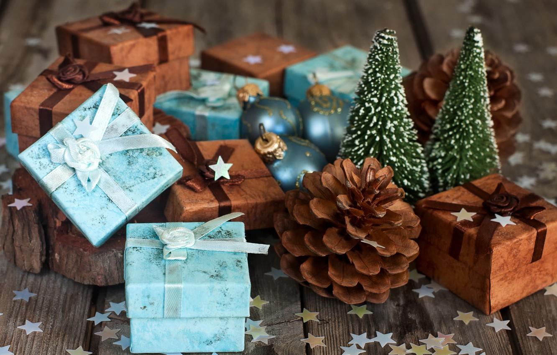 Фото обои праздник, подарки, шишки, конфетти