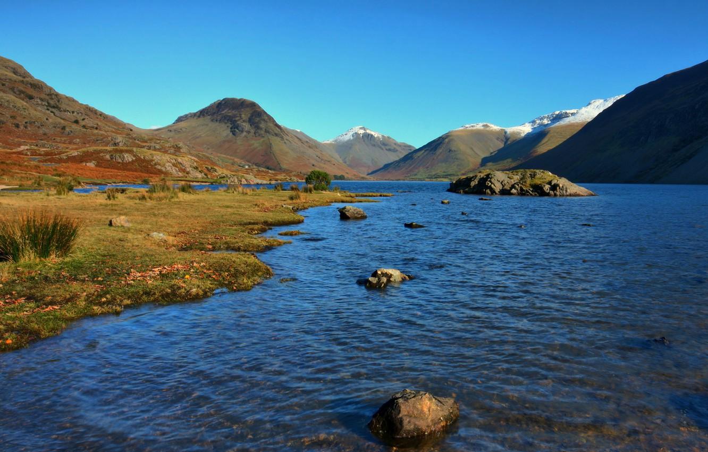 Фото обои вода, горы, река, камни, холмы, мель