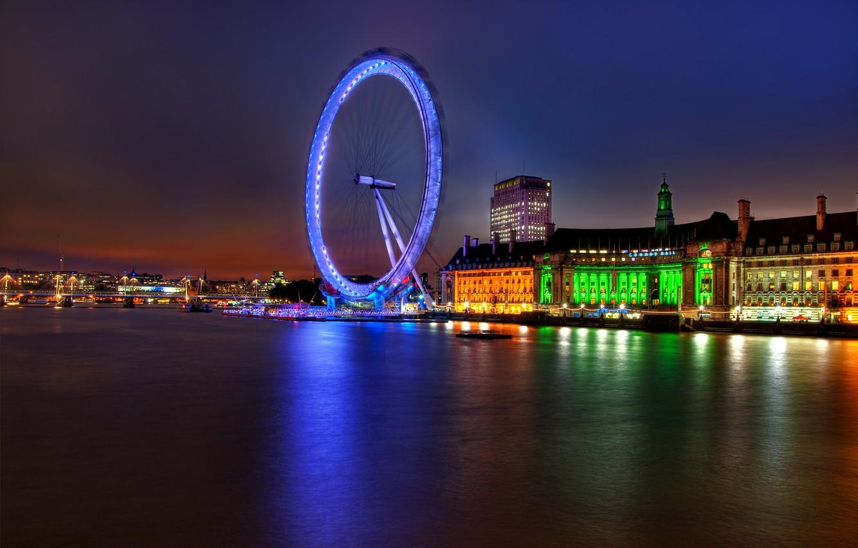 Фото обои огни, река, Англия, Лондон, здания, вечер, подсветка, Великобритания, Темза, архитектура, river, столица, London, England, London …