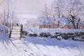 Картинка La Pie, картина, снег, зима, Claude Monet, птица, пейзаж, Сорока