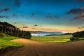 Картинка поле, лес, небо, облака, горы, озеро