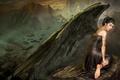 Картинка Крылья, горы, азия, ангел, перья, камень, платье