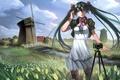 Картинка цветы, арт, наушники, мельница, девушка, yykuaixian, река, платье, облака, чулки, hatsune miku, мост, вокалоид, ветер, ...