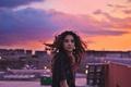 Картинка girl, twilight, sunset, dusk, hair, cityscape, roof, urban scene