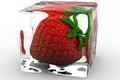 Картинка лёд, клубника, куб