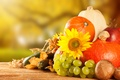Картинка грибы, овощи, тыква, фрукты, урожай, яблоки, виноград, осень