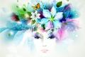 Картинка цветы, взгляд, лепестки, девушка, бабочка, листья, брызги
