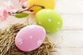 Картинка праздник, Пасха, яйца, Easter, пасхальные, гнездо, желтые, розовые, зеленые, весна