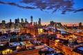 Картинка небо, облака, огни, Нью-Йорк, Бруклинский мост, сумерки, Манхэттен, One World Trade Center, Соединенные Штаты, 1WTC, ...