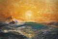 Картинка закат, солнце, волны, море, пена, michael zeno diemer, ветер, корабль