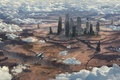 Картинка облака, поверхность, полет, город, планета, развалины, космический корабль