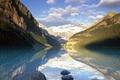 Картинка озеро, отражение, горы, Альберта, Банфф Парк, Канада, облака