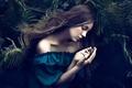 Картинка сон, девушка, Ferns, папоротник, волосы