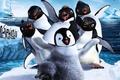 Картинка пингвин, снег, Делай ноги, зима, Мультфильм, лёд