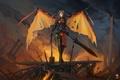 Картинка fan art, крылья, tresdin, Legion Commander, dota 2, девушка, молот, меч