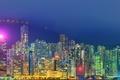Картинка горы, пейзаж, иллюминация, огни, ночь, панорама, небоскребы, Китай, Гонконг