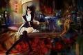 Картинка цветы, диван, арт, красные, shitub52, абстракция, неко, розы, сидя, форма, девушка, очки, уши, чулки