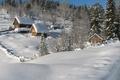 Картинка дом, небо, склон, снег, зима, деревья
