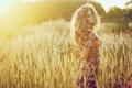 Картинка поле, девушка, платье, блондинка